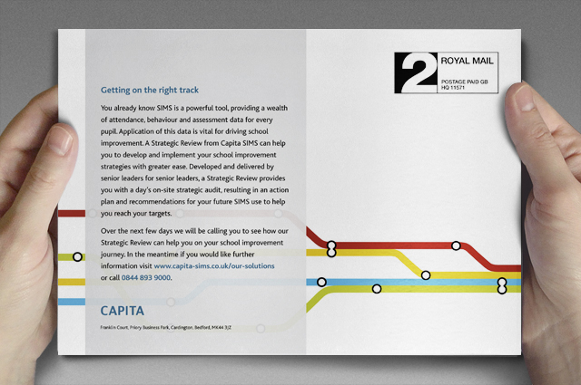 Capita SIMS integrated campaigns, direct mail marketing. Integrated marketing designed and produced by Gosling for Capita SIMS.