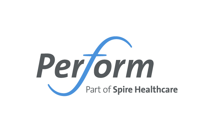 Perform branding, identity logo design. Sports healthcare brand identity. Brand design by Gosling produced for Spire Perform.