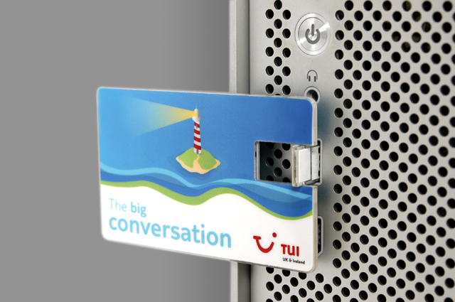 TUI UK & Ireland communication toolkit, branded usb. Internal communications designed and produced by Gosling for TUI UK & Ireland.