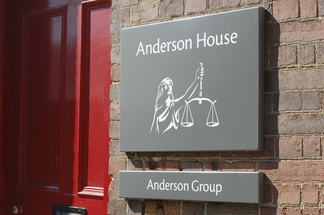 Anderson Group branding, corporate signage. Group corporate brand identity. Brand design by Gosling produced for Anderson Group.