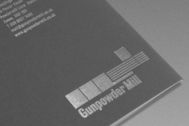 Gunpowder Mill brochure back cover foil detail from Hill Group commercial space marketing brochures designed and produced by Gosling for Hill Group.