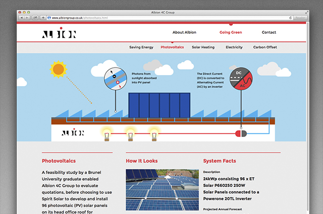 Albion website, CSR communication content, photovoltaics illustration. Digital CSR communication website designed and produced by Gosling for Albion.