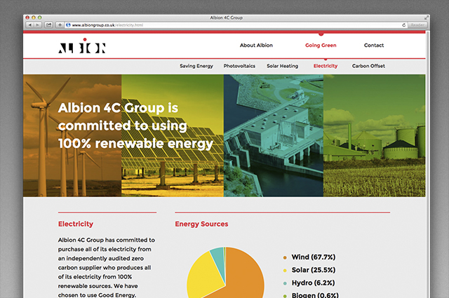 Albion website, CSR communication content, electricity. Digital CSR communication website designed and produced by Gosling for Albion.