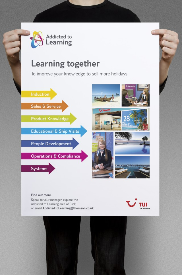 TUI Addicted to Learning training tools, poster. Branded internal communication training tools by Gosling designed and produced for TUI UK & Ireland.