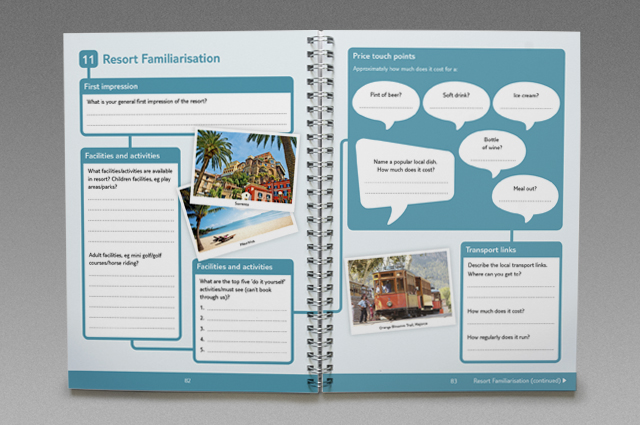 TUI Addicted to Learning training tools, workbook spread. Branded internal communication training tools by Gosling designed and produced for TUI UK & Ireland.