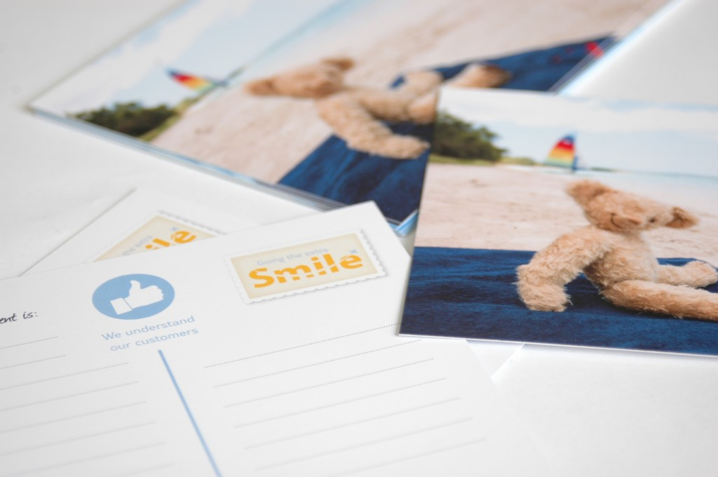 Thompson Holidays Miles MadeMeSmile Postcards . Brand Communications by Gosling produced for Thompson Holidays