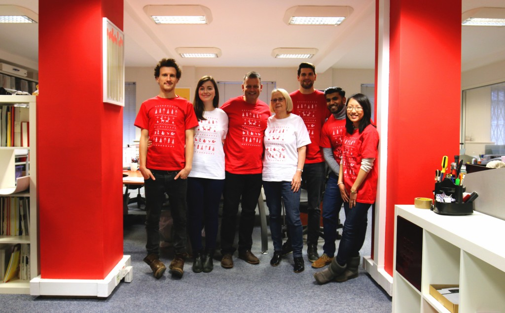 Gosling team on Christmas Jumper Day for Text Santa