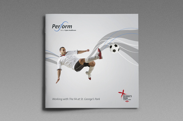 Perform, brand communications, St George's Park brochure cover. Brand design by Gosling produced for Spire Perform at St George's Park.