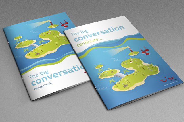 TUI UK & Ireland communication toolkit, manager's guide booklet cover. Internal communications designed and produced by Gosling for TUI UK & Ireland.