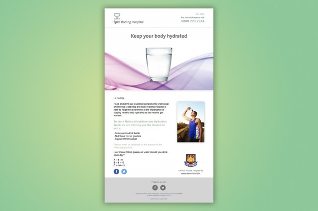 Spire Roding and West Ham United Football Club, campaign, HTML email
