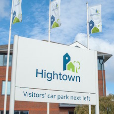 Hightown brand refresh - large format signage, designed by Gosling.